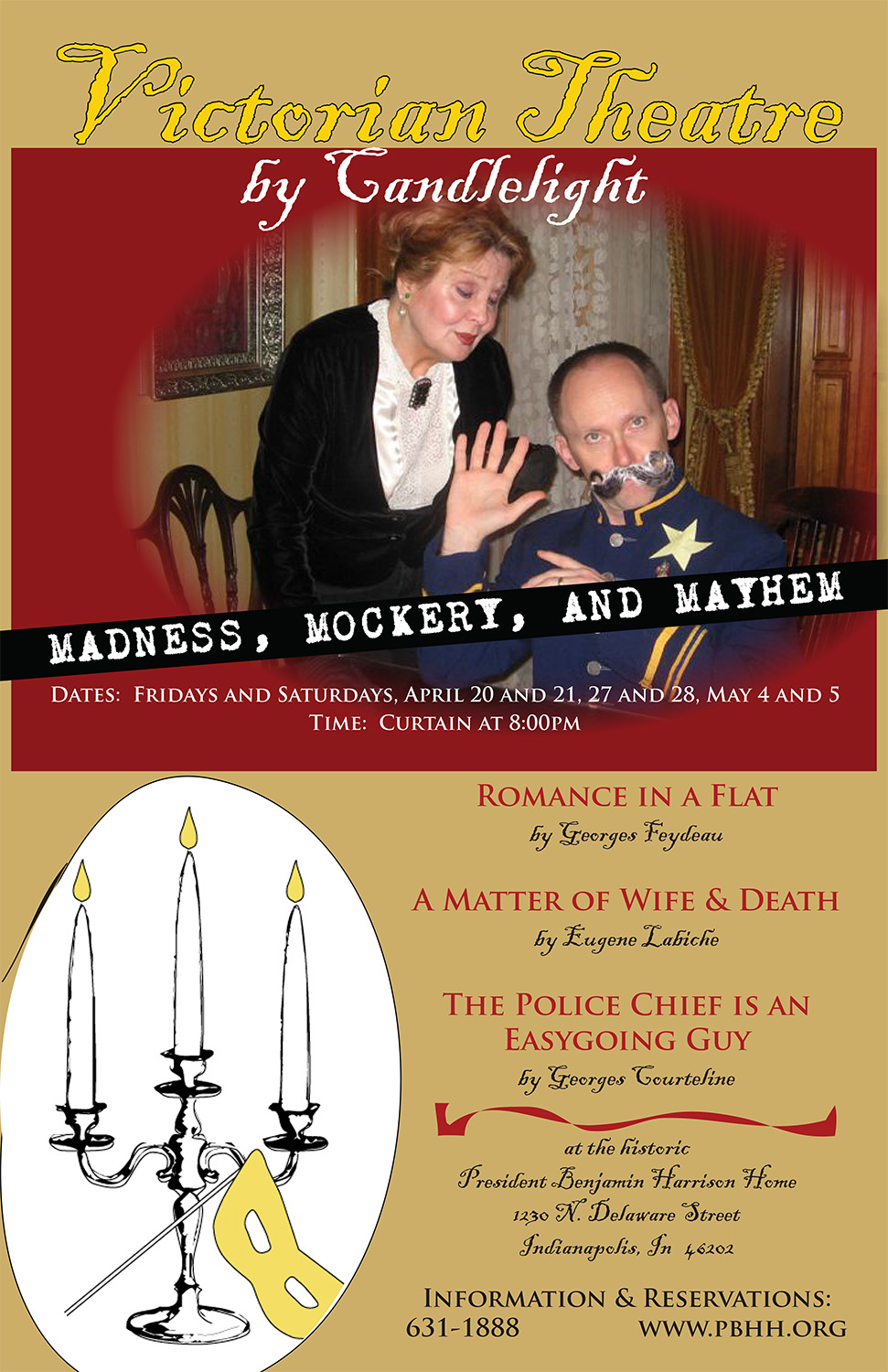 Photographic image of a man making a silly face while a woman stands behind him pursing her lips. Text reads: Madness, Mockery, and Mayhem.