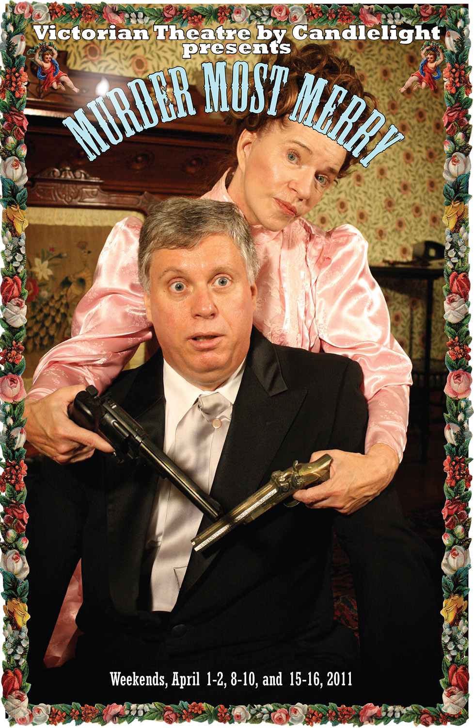 Photographic image of a woman holding two guns. Her arms are wrapped around a man, who looks surprised. Text reads: Murder Most Merry.