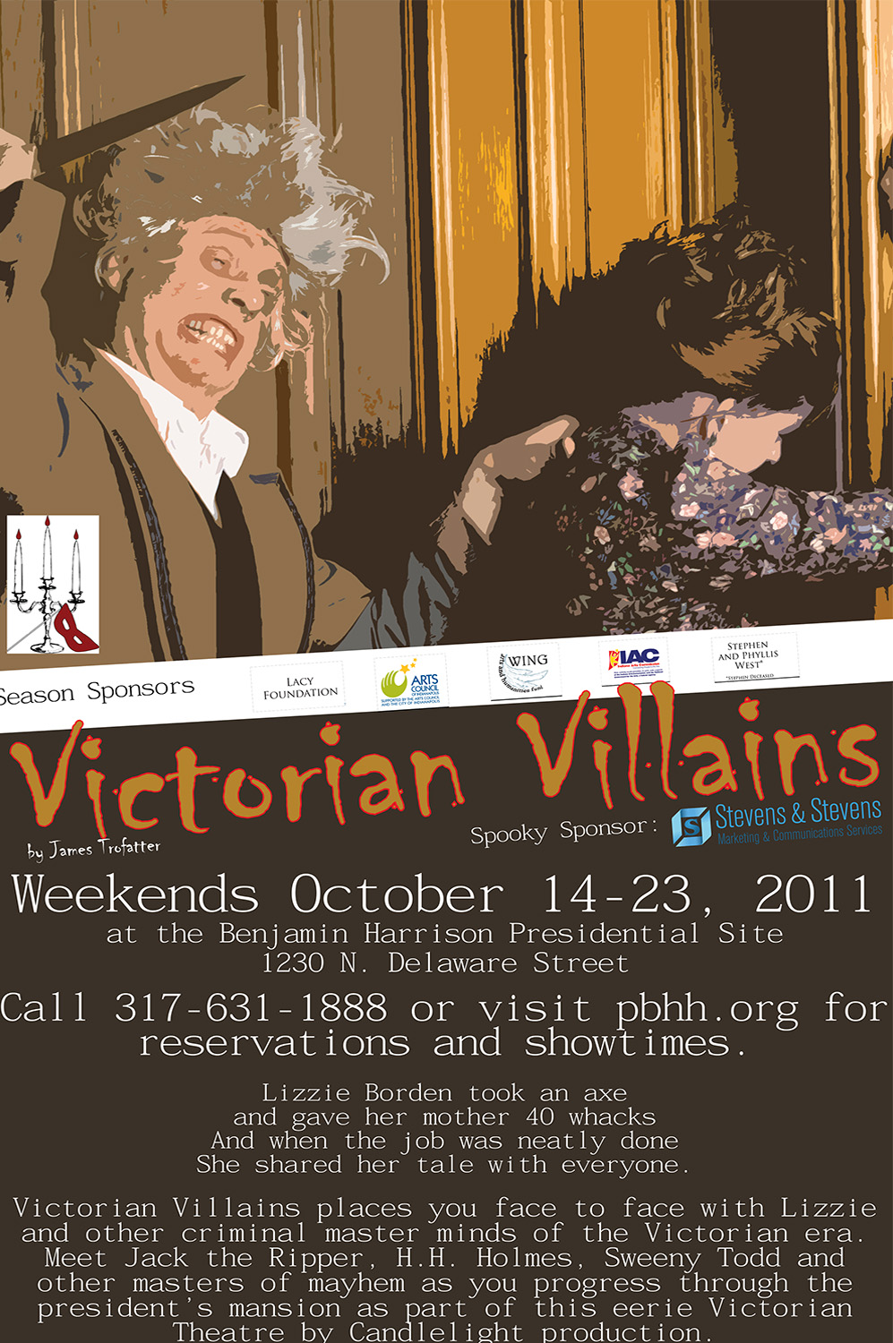 Graphic image of a man with his arm drawn back, holding a knife. A woman is trying to run away from him. Text reads: Victorian Villains.