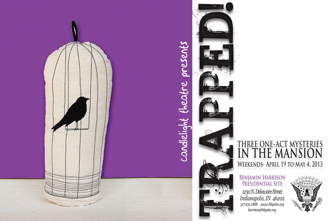 Graphic image of a bird in a birdcage. Text reads: Trapped!
