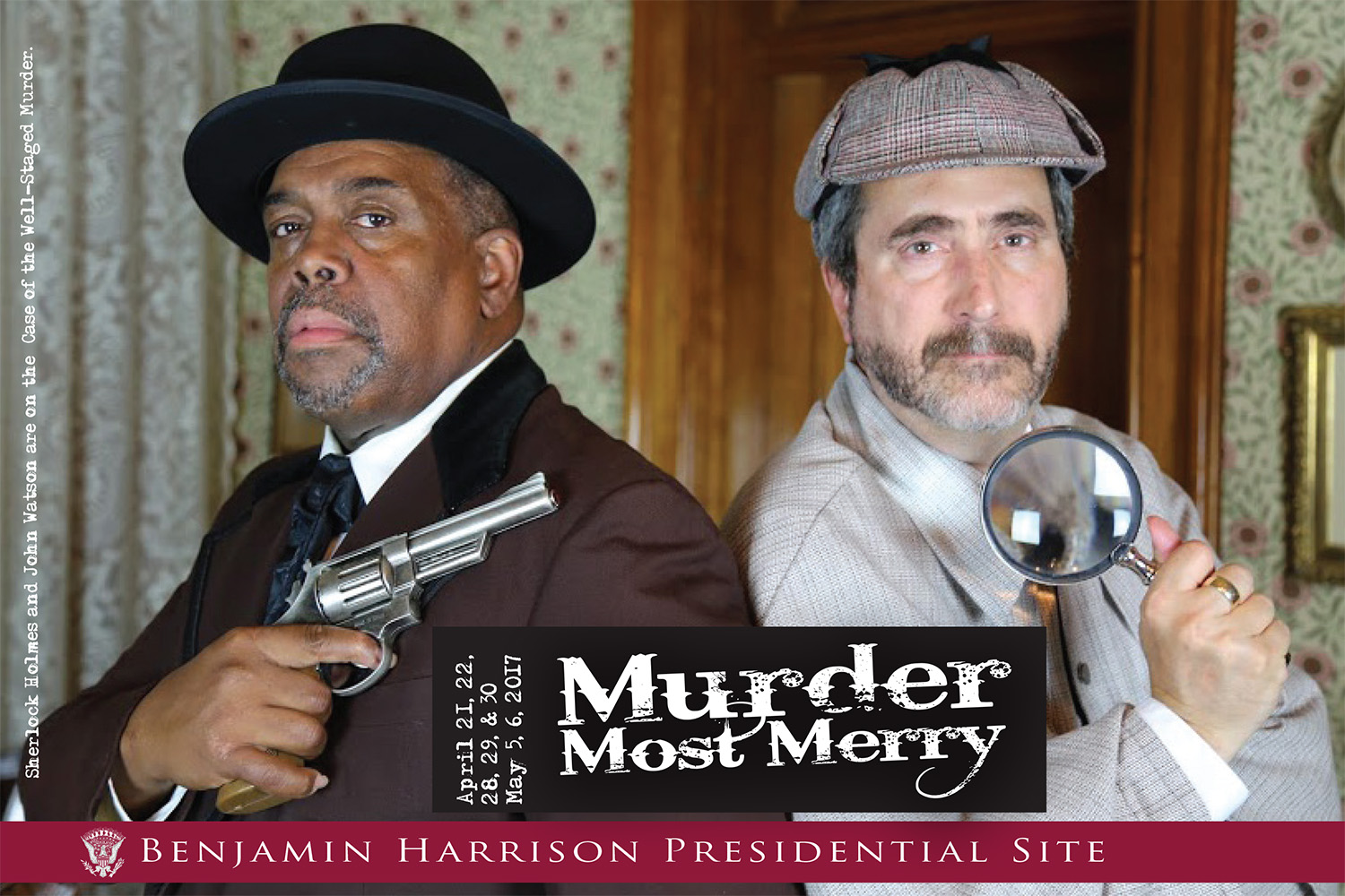 Photographic image of two men dressed as Sherlock Holmes and Dr. Watson. Text reads: Murder Most Merry.