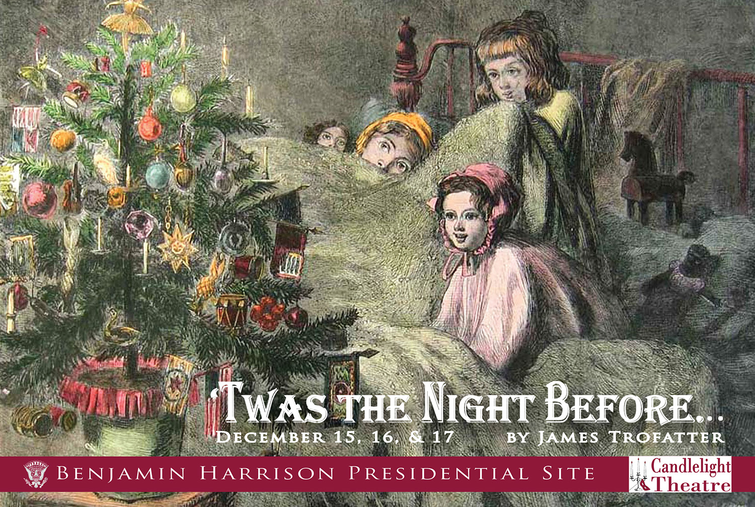 Graphic image of victorian era children in bed looking at a lit christmas tree. Text reads: Twas the NIght Before by James Trofatter.