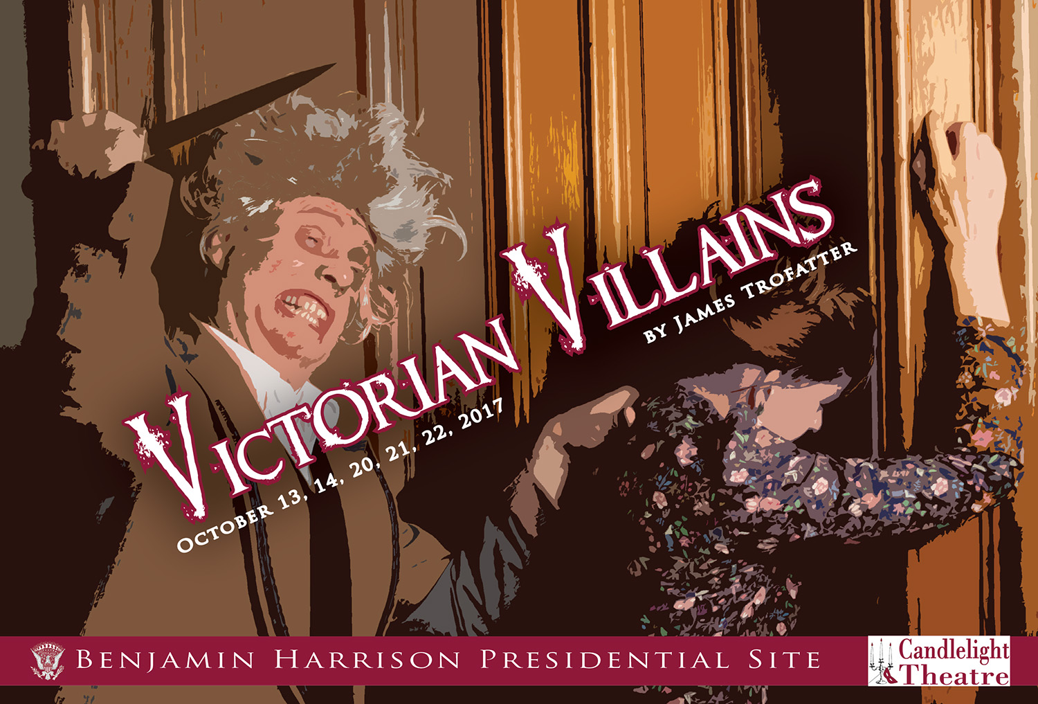 Photograph of a man with a knife threatening a woman. Text reads: Victorian Villains by James Trofatter.