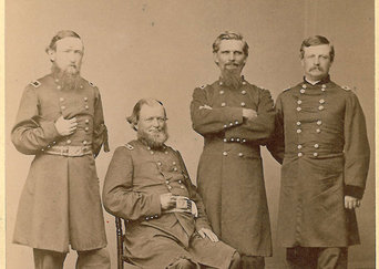 "Photographic image of Benjamin Harrison, General Ward, General Dustin, and General Cogswell in Union uniforms. Text at the bottom of the photograph reads ""Gen. Benjamin Harrison, 1865."