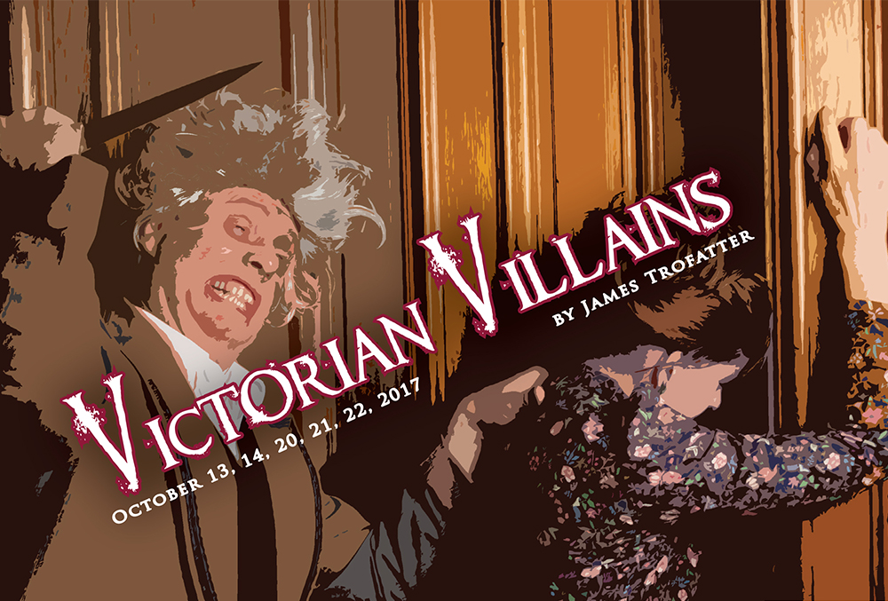 Graphic illustration for the Victorian Villains postcard. The illustration shows a seemingly crazed man grabbing an unsuspecting woman's shoulder and preparing to stab her in the back with a short blade. Text on the postcard reads,