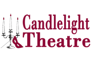 """Candlelight Theatre logo. The image features a candelabra with an opera-style face mask leaning against its base. The words """"Candlelight Theatre"""" stand strongly next to the candelabra in a serif font."""