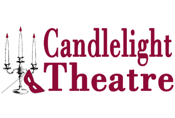 Image of the candlelight theatre logo. The logo depicts a lit candelabra with an opera style mask leaning against its base. Next the illustration is serif text that reads, candlelight theatre.