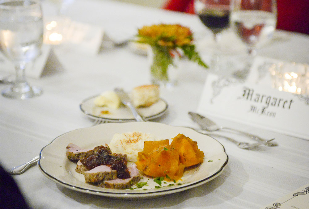 Photograph of a meal at the Civil War Dinner.
