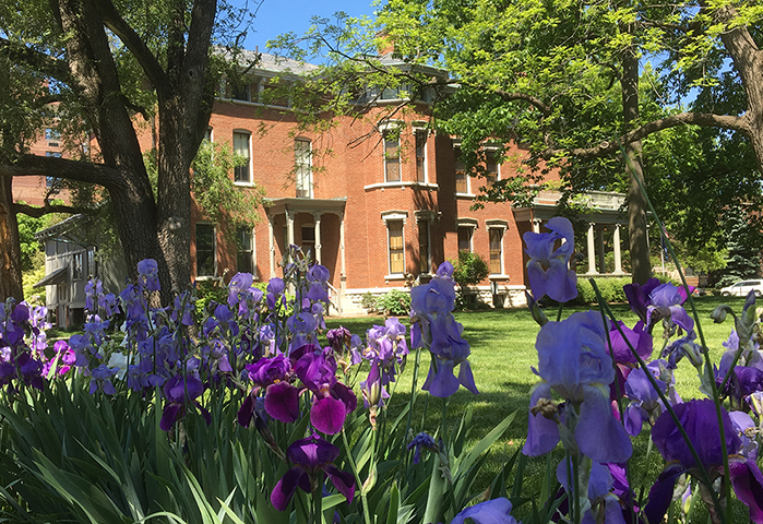 Photographic image of the Harrison mansion and irises.