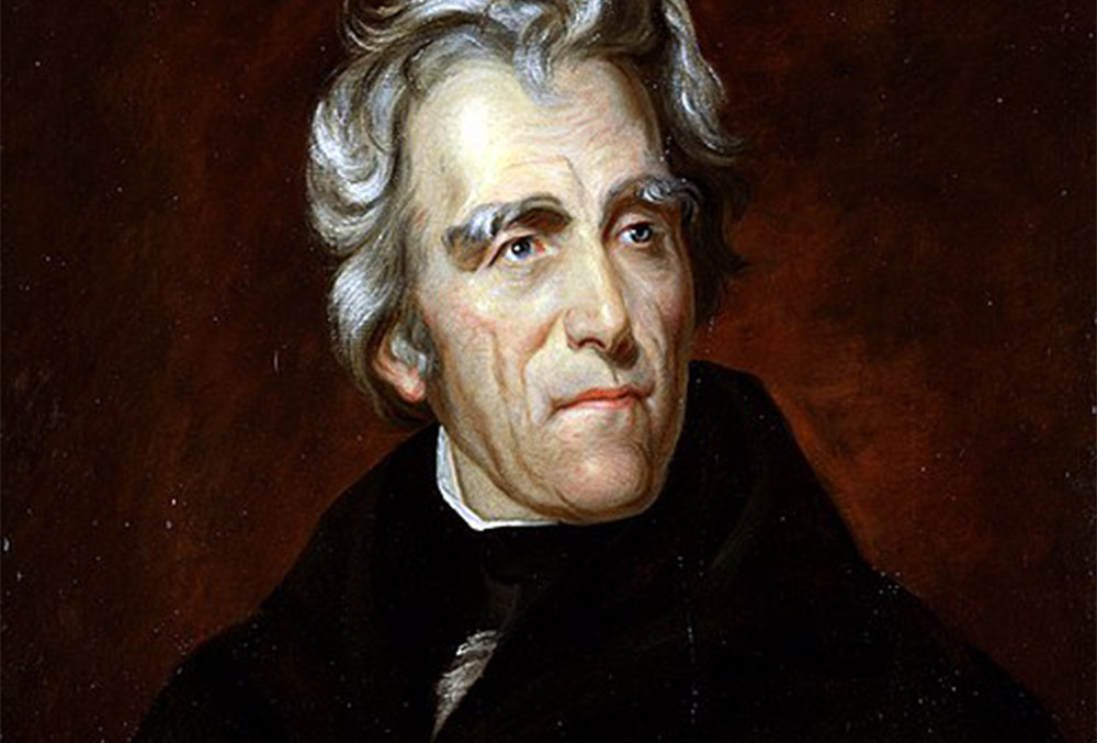 Painting of Andrew Jackson, regally looking up and out of frame to the right. Laid over a dark red background.