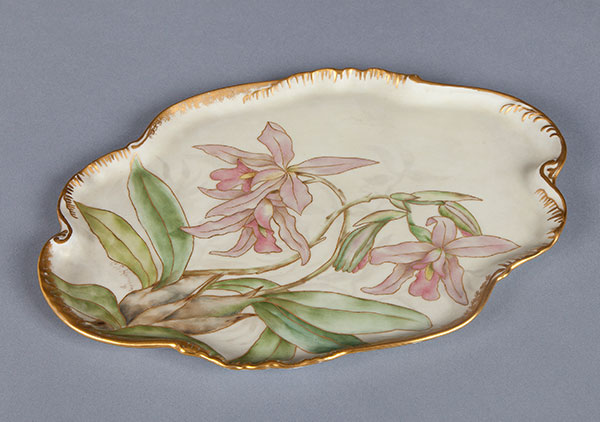 Orchid tray. hand-painted with morning glories by Mrs. Caroline Scott Harrison in pastel tones, green leaves and gold trim.