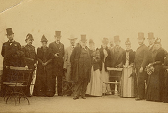 The President, Mrs. Harrison & Party / On the Parapet of Sutro Heights, April 27th 1891. at bottom center.