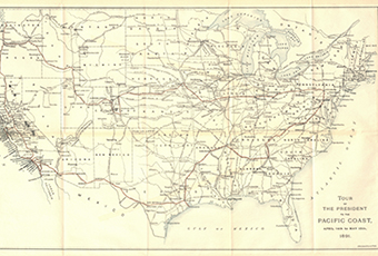 Map of the United States in 1981 with trip route marked in thin red line. Also marked are railroards, and rivers. Map is from the booklet: