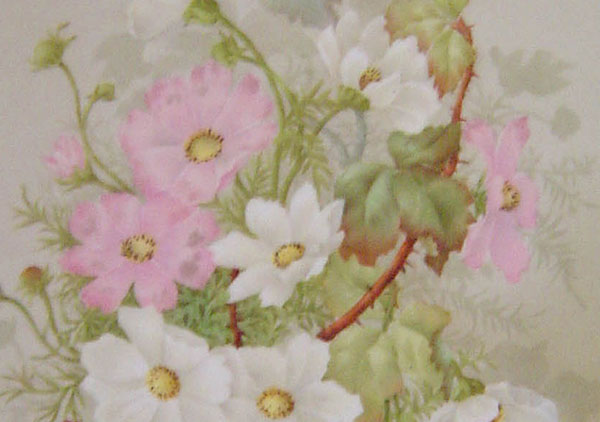 China painting on porcelain. Mat of green velvet (part of frame), wooden frame with small pink and blue flower carved around edge. China painting of pink and white flowers, possibly wild roses or cosmos.