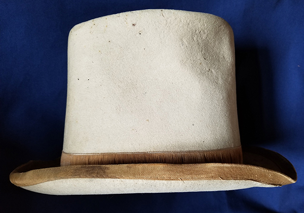 Photograph of Benjamin Harrison and Levi Morton's top hat, used in their campaign. Photograph of Benjamin Harrison and Levi Morton's top hat, used in their campaign. Cream colored felt top hat. Silk edge on brim and around base of top and a leather band around inside.