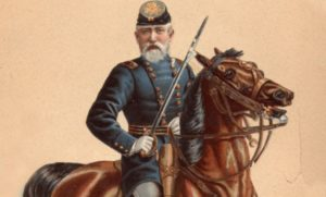 Painting of Benjamin Harrison during his service in the civil war, adorned with union colors and his signature beard. He is gripping a sword and on horseback. Pictured in front of a beige background.