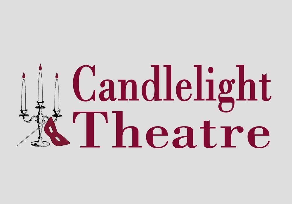 This is the logo for Candlelight Theatre, depicting a lit candelabra with an opera-style mask leaning against its base. Next to the illustration is some serif font that reads, candlelight theatre.