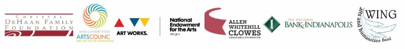 An image showing Candlelight Theatre's sponsors, including The DeHaan Family foundation, Arts council, art works, national endowment for the arts, allen whitehill clowes, the national bank of indianapolis, and the wing arts and humanities fund
