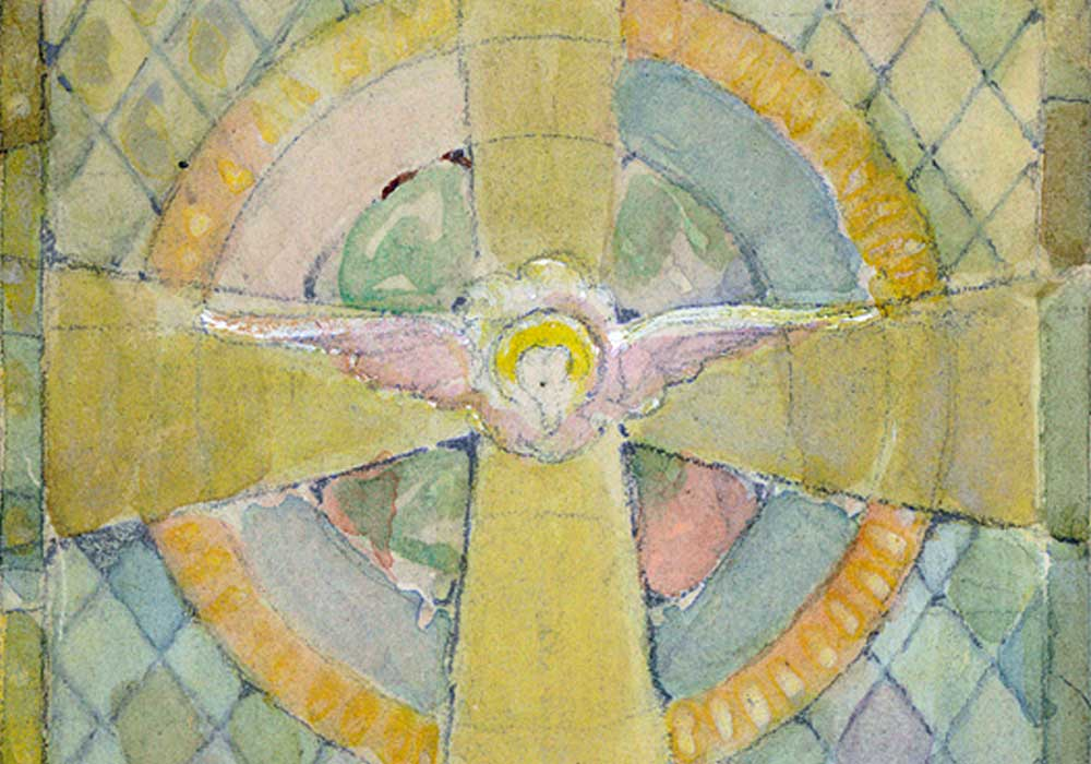 A watercolor painting of one of the stained glass windows found in the first presbyterian church. the stained glass window is styled with blue and yellow accents and a diamond pattern in the background. The center of the piece features an angel over a cross.