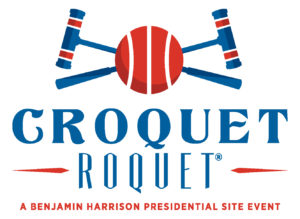 """Croquet Roquet logo. The image features two croquet mallets crossed against each other with a red ball in the center, where they overlap. Below that is stylized text that reads, """"Croquet Roquet, a benjamin harrison presidential site event."""""""
