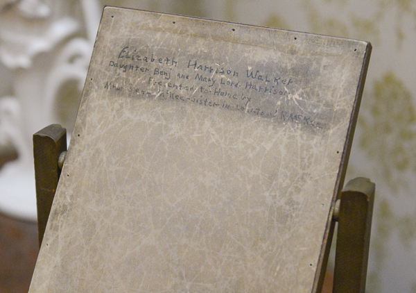 back board of the photo of elizabeth harrison. writing on the back reads
