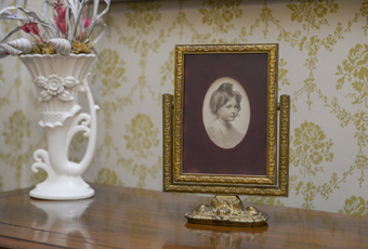 Framed photo of Elizabeth Harrison. Oval photograph window in maroon velvet mat. Gold painted wooden easel type frame with fancy metal base holding wood frame that tilts or swivels up and down.