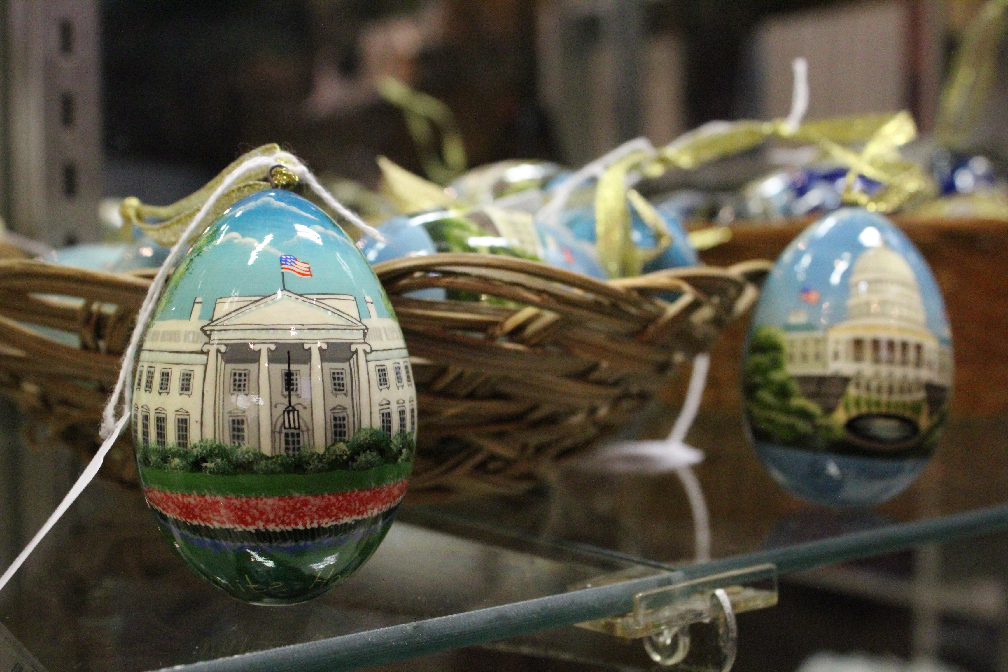 Eggs painted with images of Washington D.C.