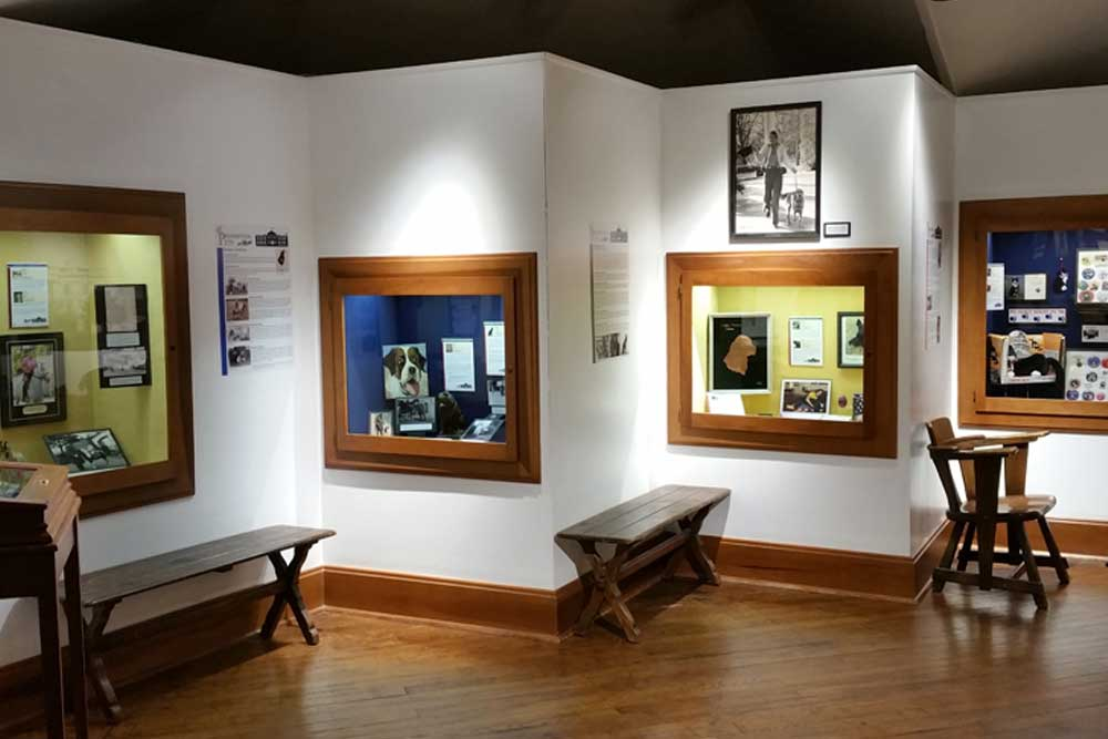 Photograph of several display cases seen on the third floor of the presidential home. The display cases vary in color from yellow to blue, and contain various documents relevant to the harrison family. there are benches in front of the display cases for sitting.