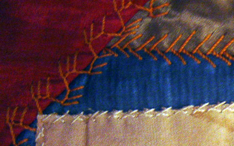 Crazy quilt with velvet boarder, mostly silk fabric in the pattern. Signatures include, Rutherford B. Hayes, Mrs. James K. Polk, John Wanamaker, Julia D. Grant, W. T. Sherman / general, Benj. Butterworth / Ohio, Agnes Author McElroy, Grover Cleveland, Frances Cleveland, T. DeWitt Talmage, and John J. Ingalls.