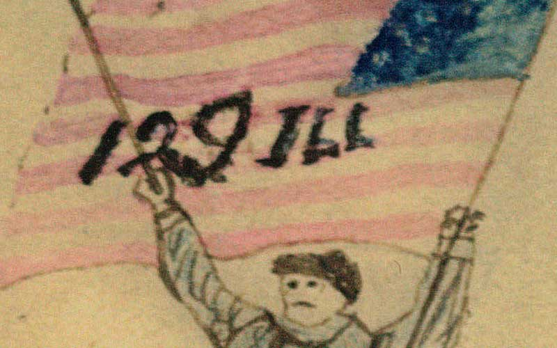 Close up of a figure on the composition. Shows a soldier hoisting an american flag and a sword, with little detail.
