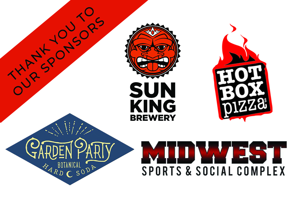 Graphic image of sponsor logos including hot box pizza, sun king brewery, and midwest sports and social complex.