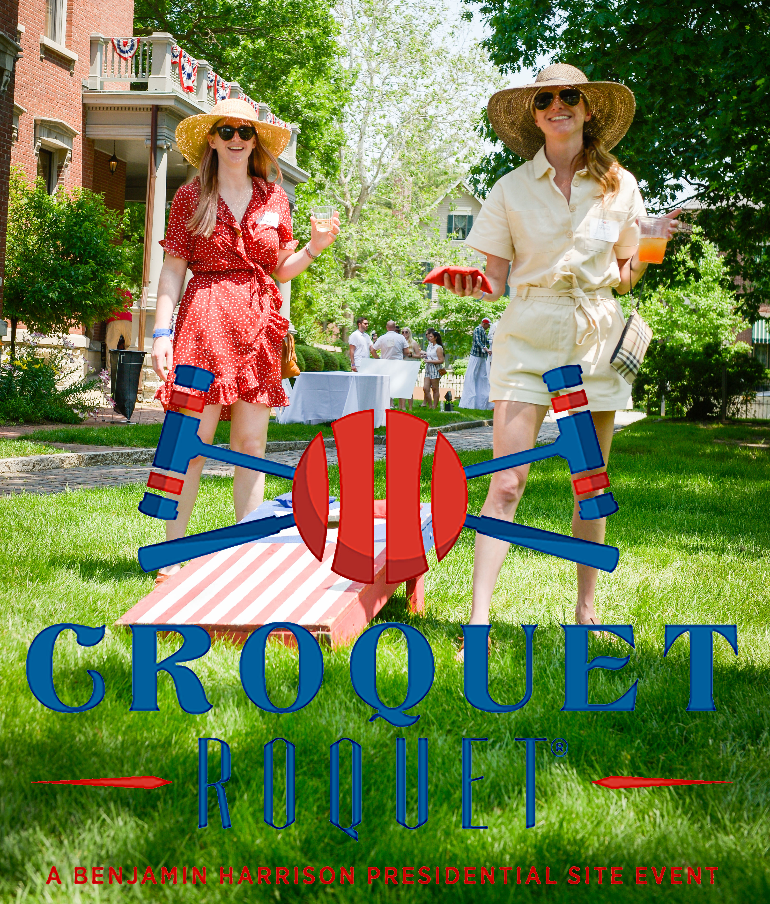 Graphic image of the croquet roquet logo overlaid onto a photograph of two visitors to the presidential site, playing croquet at the event.