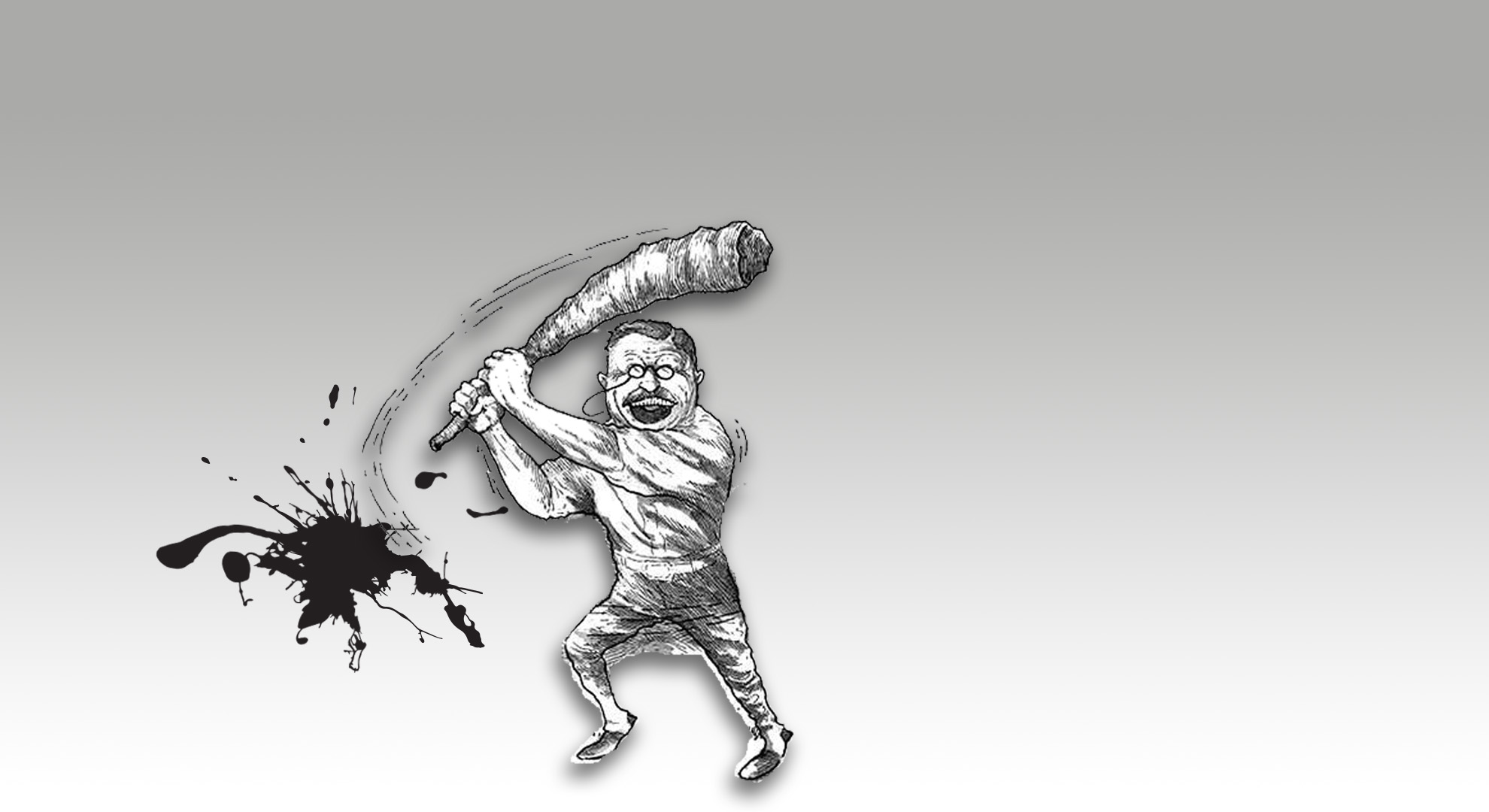 Graphic image of a caricature of Teddy Roosevelt swinging a baseball bat