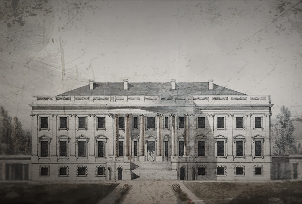 Graphic image of the White House in the 19th century.