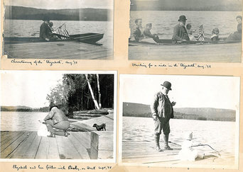Photos from a benjamin harrison scrapbook, showing a day on the lake. In four photos he is pictured on a dock, or in a boat, with his family and dog. Three of the pictures are captioned, reading from left to right,