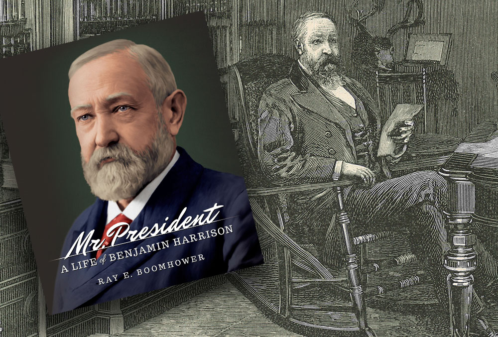 Graphic image of an etching of Benjamin Harrison reading a book. The cover of Ray Boomhower's Mr President: A Life of Benjamin Harrison is superimposed over the etching.