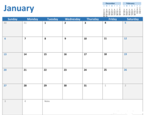 Image of an empty calendar showing the month of January.