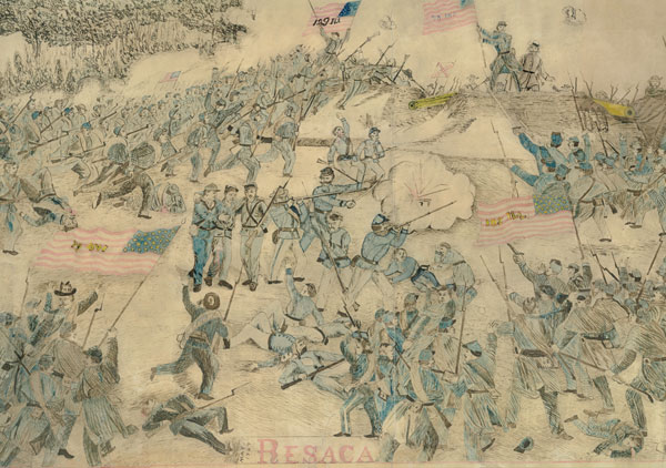 Framed pen and ink drawing of the Civil War battle of Resaca, GA., May 15, 1864, by G. H. Blakeslee ( 129th Illinois Company G ). Black ink and hand colored in red, blue, black, and yellow. Bottom center