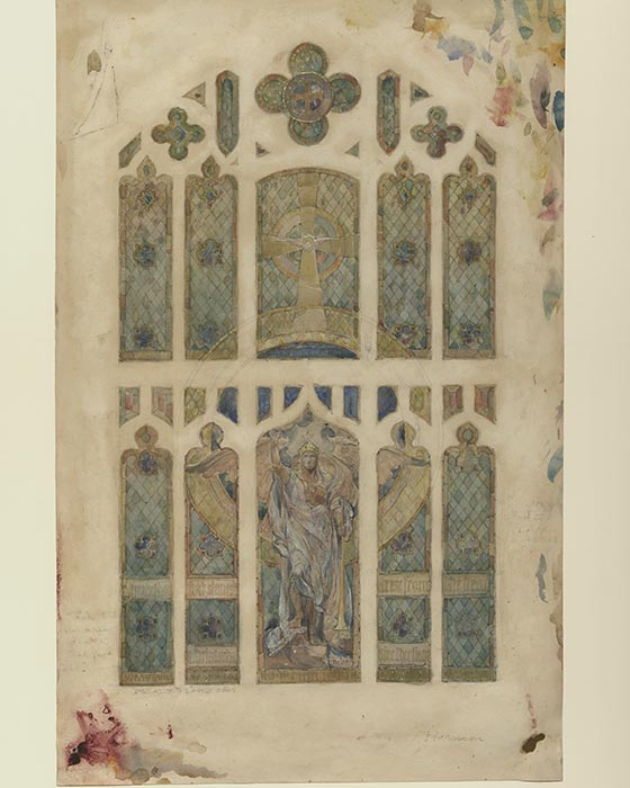 Watercolor Illustration of a window from the first presbyterian church. this window frame is split into 5 distinct sections vertically, and two sections horizontally, making a total of 10 large windows accompanied by smaller windows as accents. The window is mosly blue with yellow accents. Most of the frames are in a rectangular shape with a curved, gradually pointed top. There is a diamon pattern in the background, with imagery of a cross and a crowned angel in flowing white robes, standing with his arms at his sides, with one leg propped on a step.